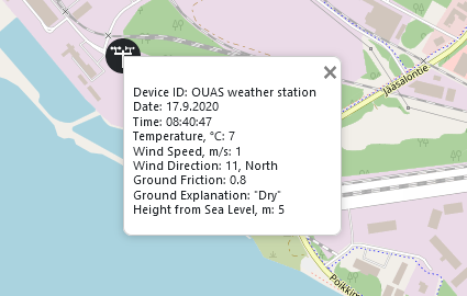 Weather station icon on a map has been clicked open. The information shown is: Device ID: OUAS weather station, Date: 29.9.2020, Time: 14:05:00, Temperature: 17 ℃, Wind Speed: 0 m/s, Wind Direction: NE, 62 °, Ground Friction: 0.8, Ground Explanation: Dry, Height from Sea Level: 5 m.