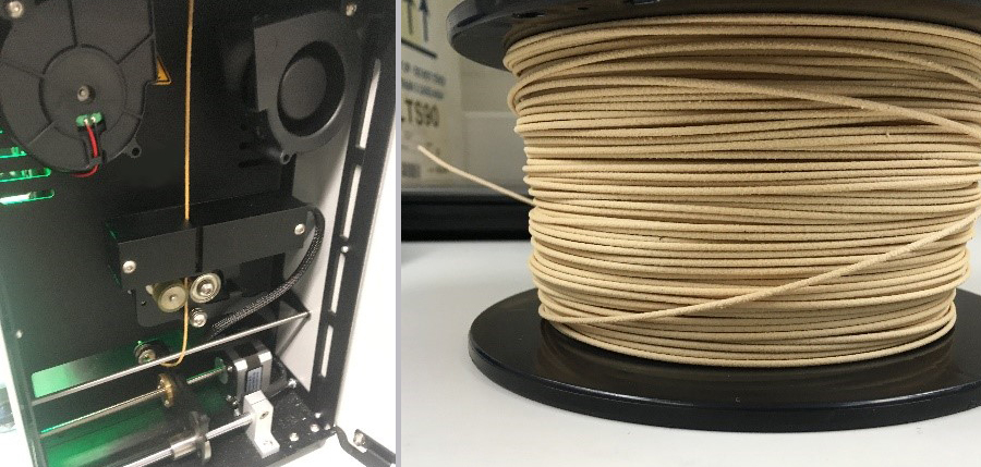 3D-printer and a roll of composite filament.